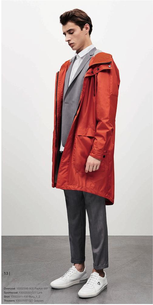 Strellson Par-dessus imperméable rouge sur un costume gris