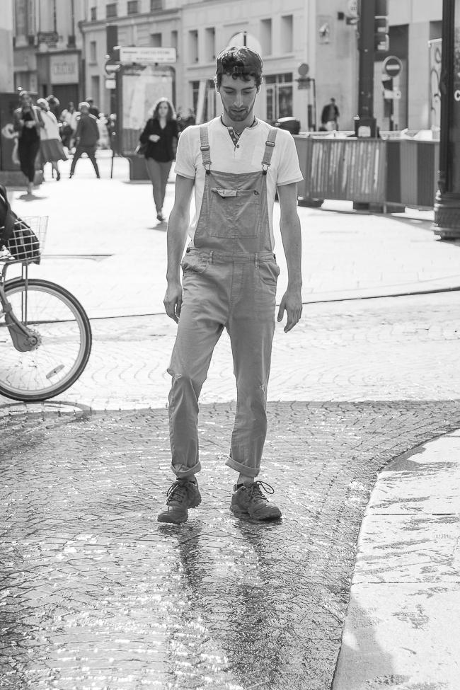 Photos de mode street style : Mathieu en salopette