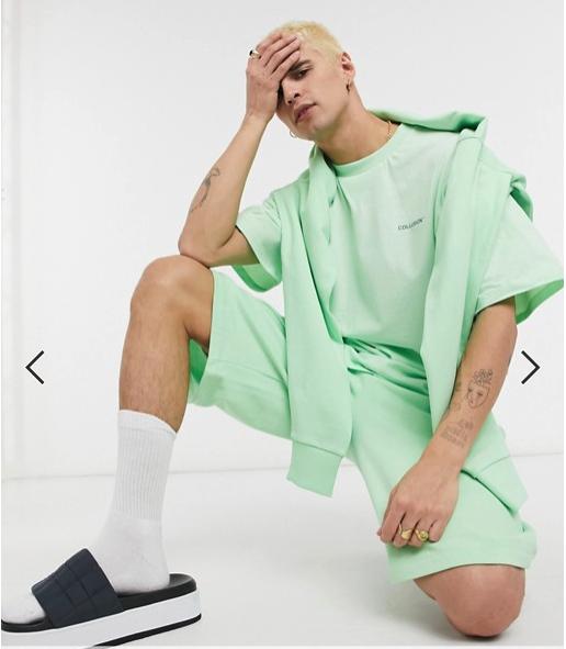 Unisex - Ensemble avec casquette à logo, hoodie court, t-shirt oversize et short - Vert asos