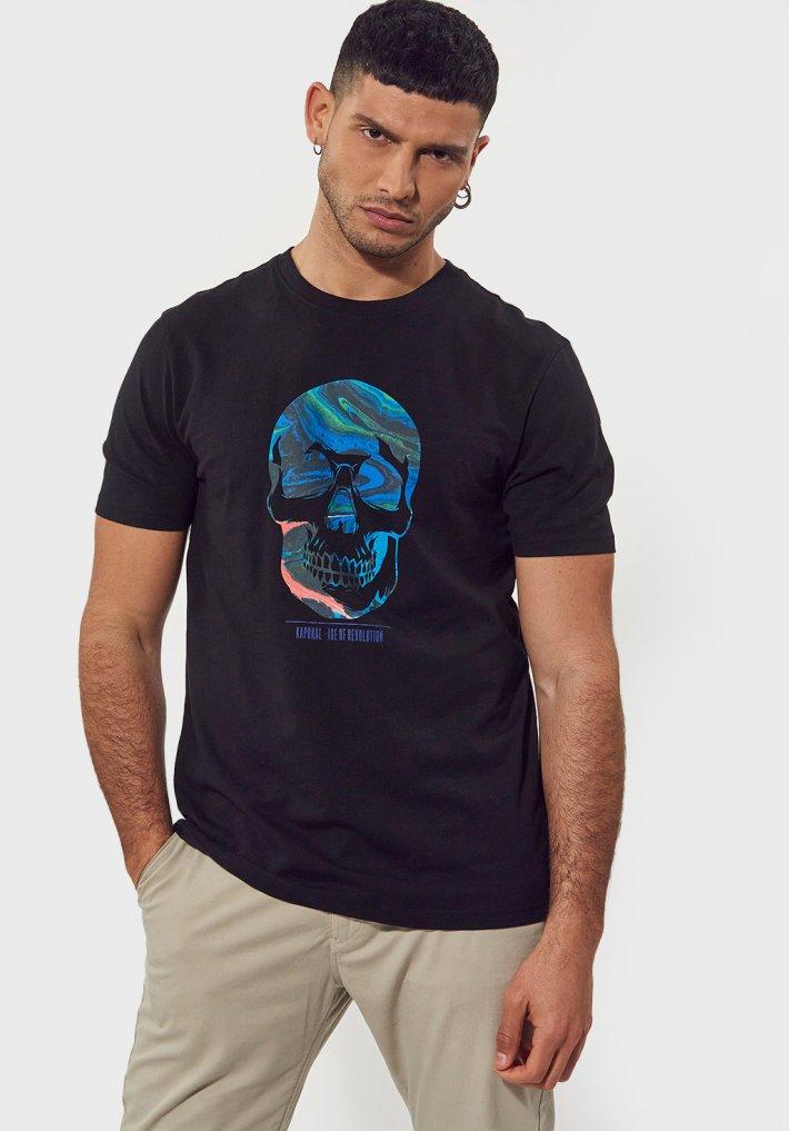 kaporal-T-shirt-regular-noir-avec-imprime-tete-de-mort-en-100-coton-