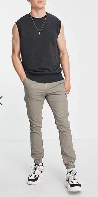cargo pantalon gris skinny